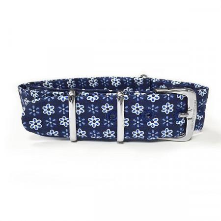 Cinturino sartoriale fantasia floreale blu