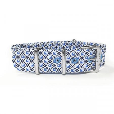 Cinturino sartoriale motivo optical blu e bianco