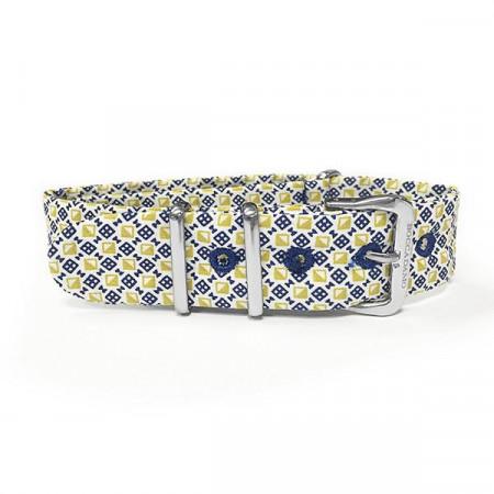 Cinturino sartoriale motivo optical giallo, blu e bianco