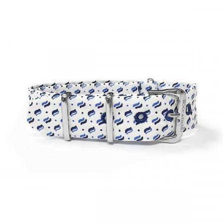 Cinturino sartoriale micro fantasia blu su fondo bianco