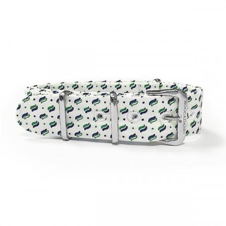 Cinturino sartoriale micro fantasia verde su fondo bianco