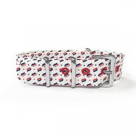 Cinturino sartoriale micro fantasia rosso su fondo bianco