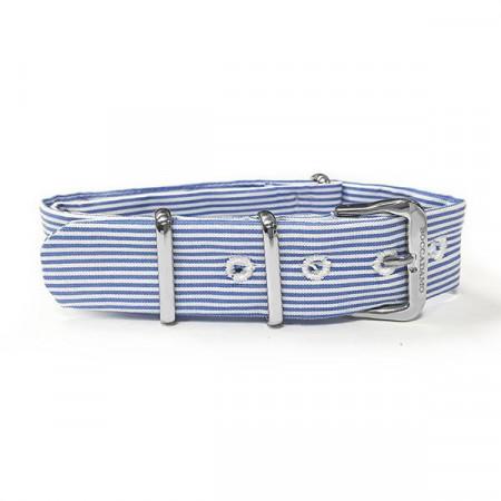 Cinturino sartoriale a righe strette blu