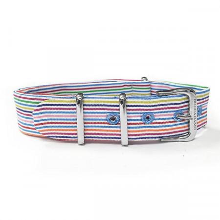 Cinturino sartoriale a righe strette multicolor