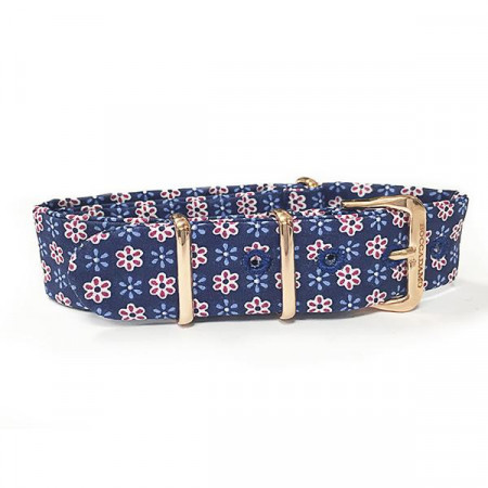 Cinturino sartoriale fantasia floreale rossa e blu e fibbia rosata