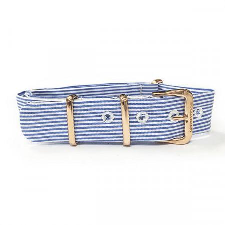 Cinturino sartoriale a righe strette blu e fibbia rosata