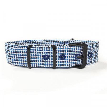 Cinturino sartoriale micro fantasia a quadri blu e bianchi e fibbia nera