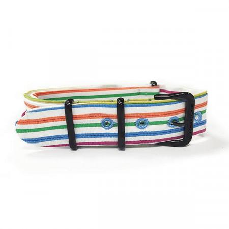 Cinturino sartoriale a righe orizzontali multicolor e fibbia nera