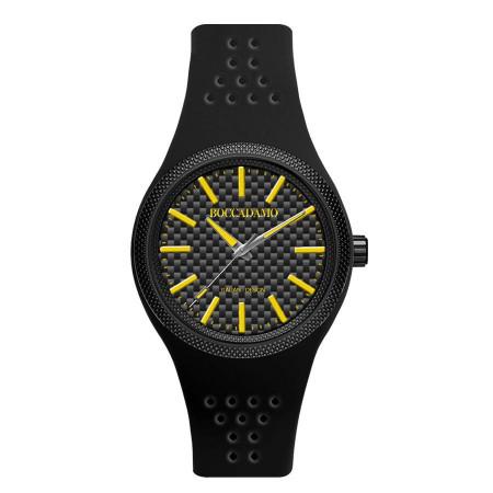 Orologio in silicone anallergico con indici e lancette gialle