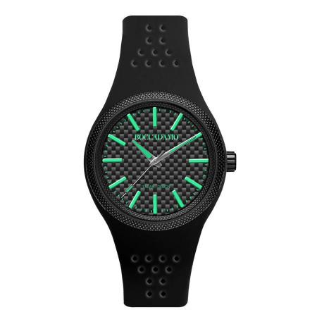 Orologio in silicone anallergico con indici e lancette verdi