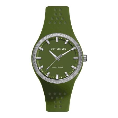 Orologio in silicone verde mimetico con ghiera silver