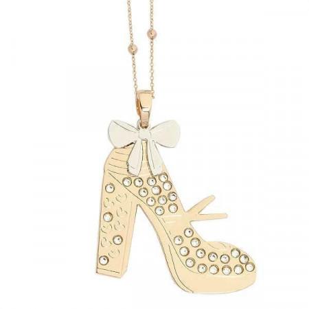 Collana rosata con scarpa modello Mary Jane pendente e Swarovski