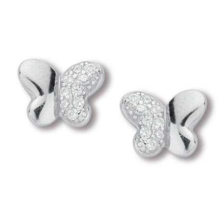 Orecchini a lobo in argento e zirconi con farfalla