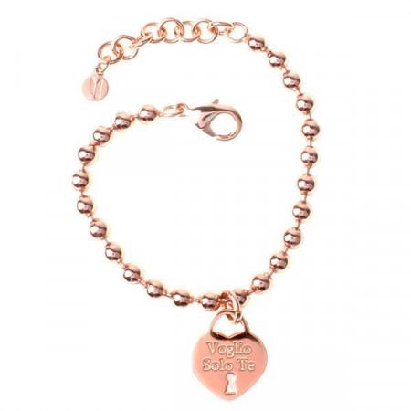 """Bracciale in acciaio con pendente a forma di cuore e messaggio inciso """"Voglio Solo Te"""""""