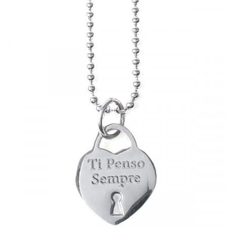 """Collana lunga in acciaio con pendente a cuore e messaggio inciso """"Ti Penso Sempre"""""""