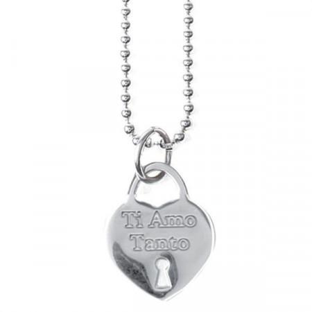 """Collana lunga in acciaio con pendente a cuore e messaggio inciso """"Ti Amo Tanto"""""""