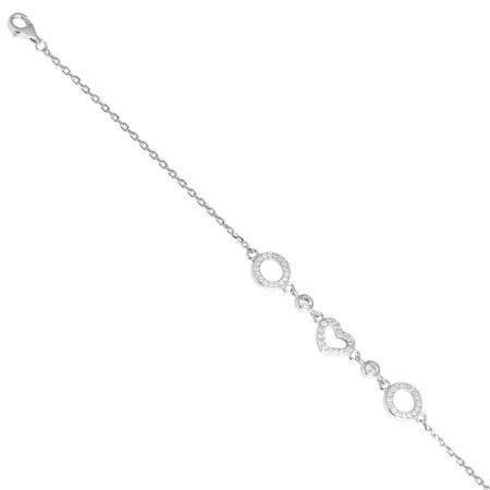 Bracciale in argento con cuore di zirconi