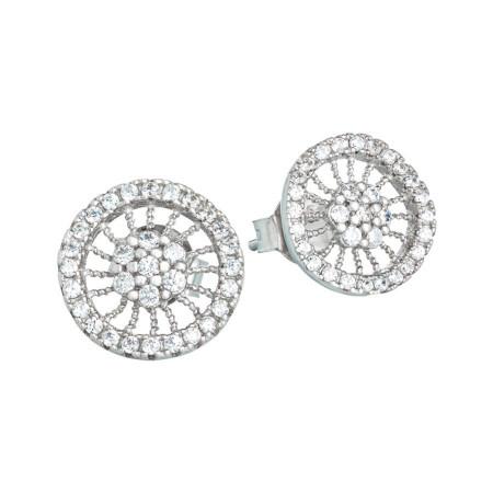 Orecchini in argento con decoro radiale di zirconi