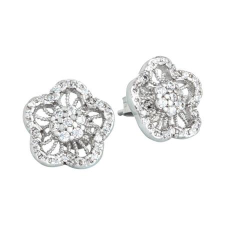 Orecchini in argento con decoro a fiore di zirconi