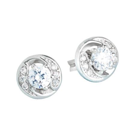 Orecchini in argento con punto luce geometrico di zirconi