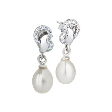 Orecchini in argento con zirconi e perla a goccia