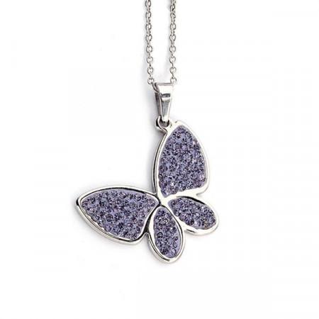 Collana a forma di farfalla con strass lilla