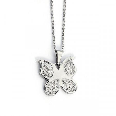 Collana ciondolo farfalla acciaio e strass
