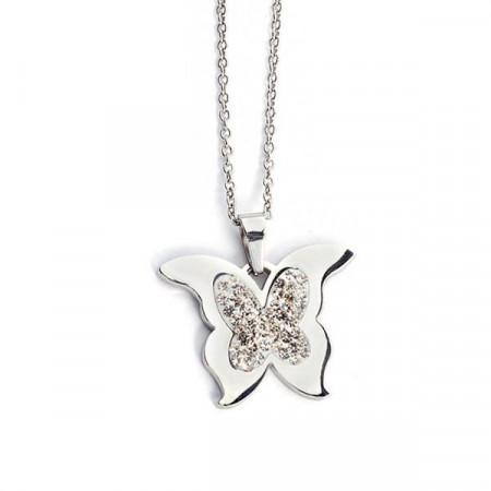 Collana ciondolo farfalla strass bianchi