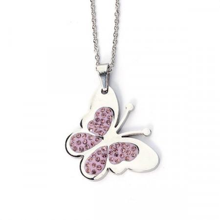 Collana a forma di farfalla con strass rosa