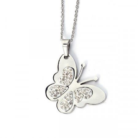 Collana a forma di farfalla con strass bianchi