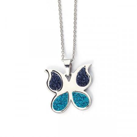 Collana a forma di farfalla con strass blu e turchese