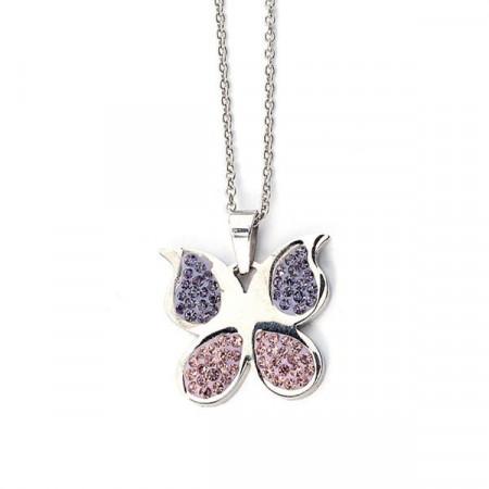 Collana a forma di farfalla con strass lilla e rosa