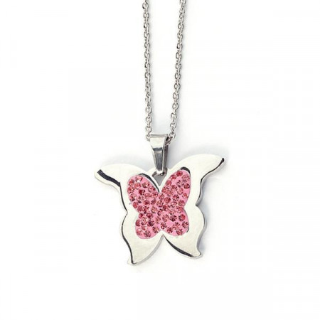 Collana ciondolo farfalla in acciaio, strass rosa