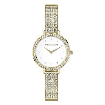 Orologio da polso donna con cinturino dorato e Swarovski