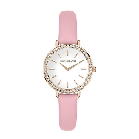 Orologio con cinturino in pelle rosa e ghiera con Swarovski