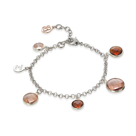 Bracciale bicolor con cristalli peach e brown