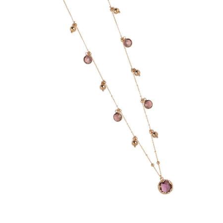 Collana rosata con cristalli amethyst e ametista