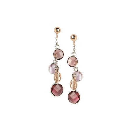 Orecchini bicolor con cristalli ametista e light pink