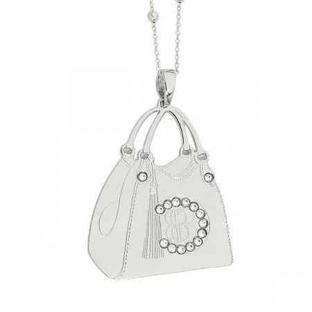 Collana con shopping bag rodiata pendente e Swarovski