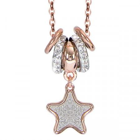 Collana placcata oro rosa e pendente glitterato a stella