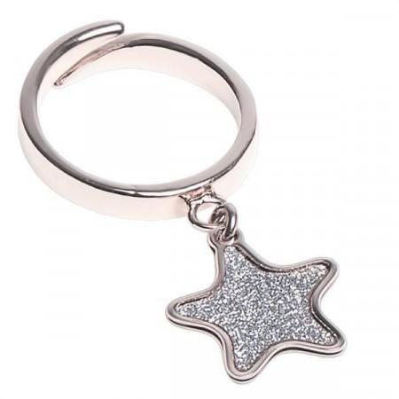 Anello regolabile con stella glitterata