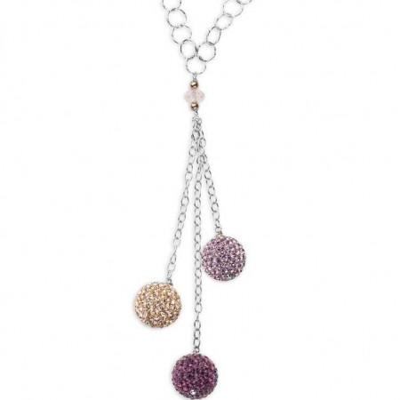 Collana in argento con pendente di boule di strass colorate