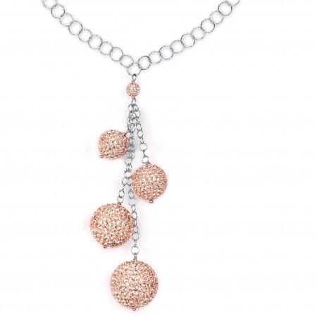 Collana in argento con pendente di boule di strass pesca