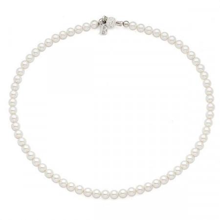 Collana corta con perle Swarovski piccole e boule di strass