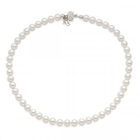 Collana corta con perle Swarovski medie e boule di strass