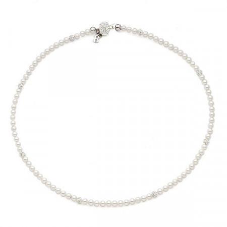 Collana con piccole perle Swarovski e boules di strass
