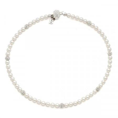 Collana con filo di perle Swarovski e boules di strass