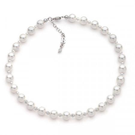 Collana con perle Swarovski e pavè di strass