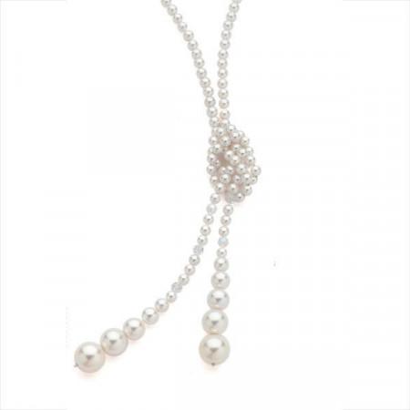 Collana in argento con perle Swarovski bianche