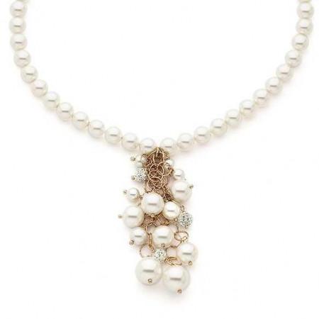 Girocollo in argento rosato con perle e strass